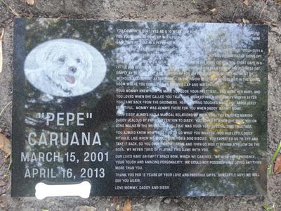 Pepe's Memorial Headstone